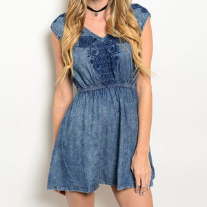 🆕 Acid Blue Chambray Mini Dress